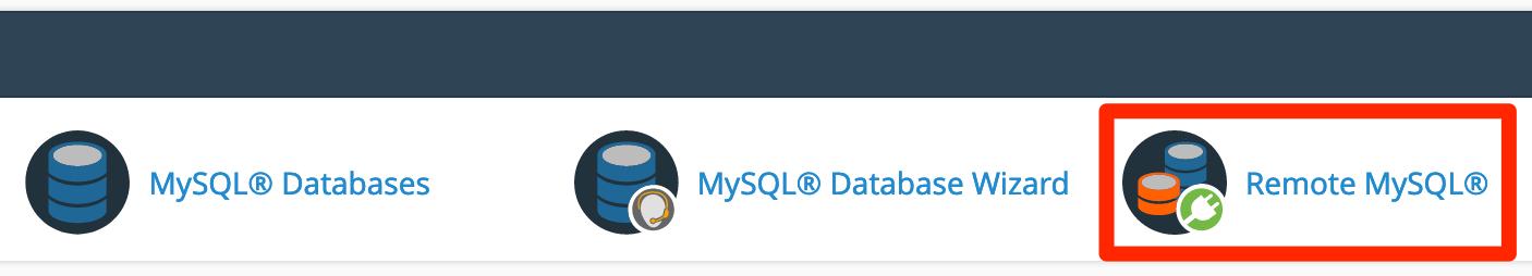 Click the icon Remote MySQL