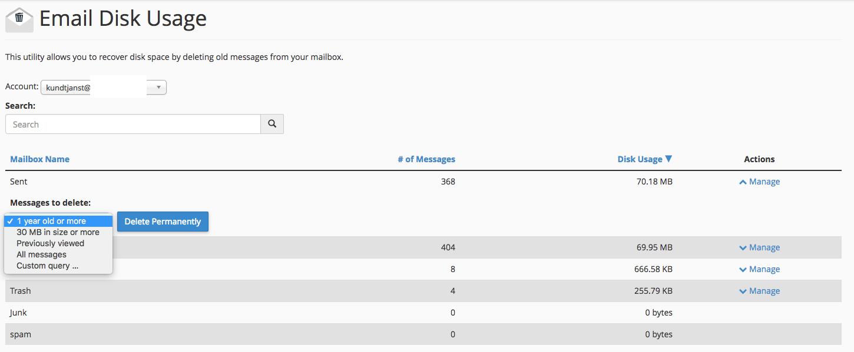Email Disk Usage utseende
