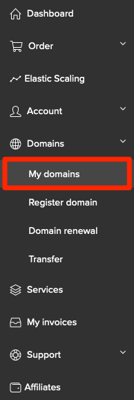 My domains in the left menu