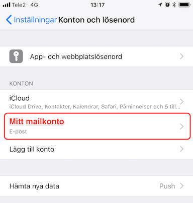 Välj ditt mailkonto