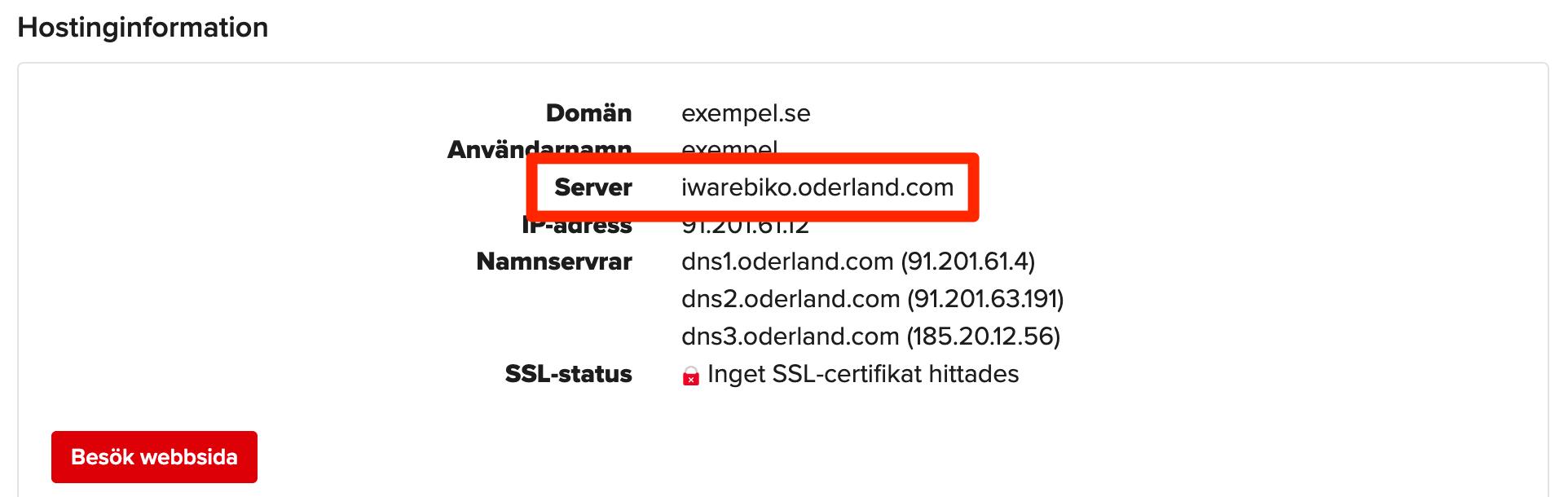 Servernamn för tjänst