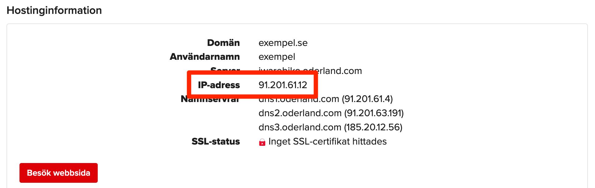 IP-nummer för tjänst