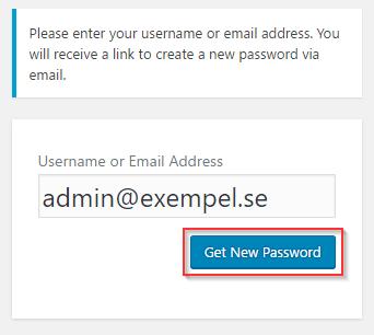 WordPress återställ lösenord