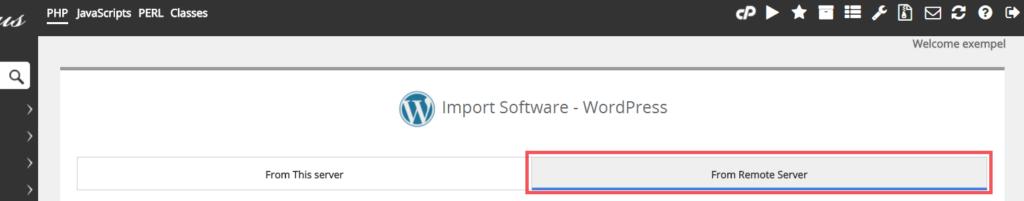 Klicka på knappen From Remote Server, du hittar den i ovankanten
