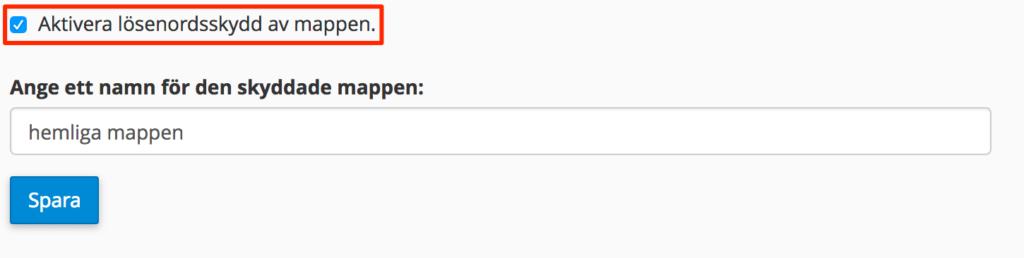 """Klicka på """"Lösenordsskydda katalogen"""", välj beskrivning och spara."""
