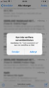 Feltext från iPhone