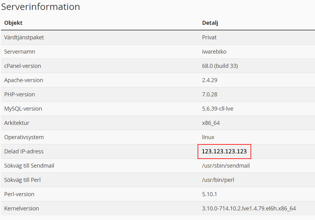 Du kan se IP-adressen i listan