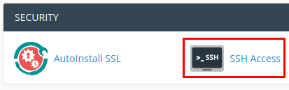cPanel > SSH (Security)