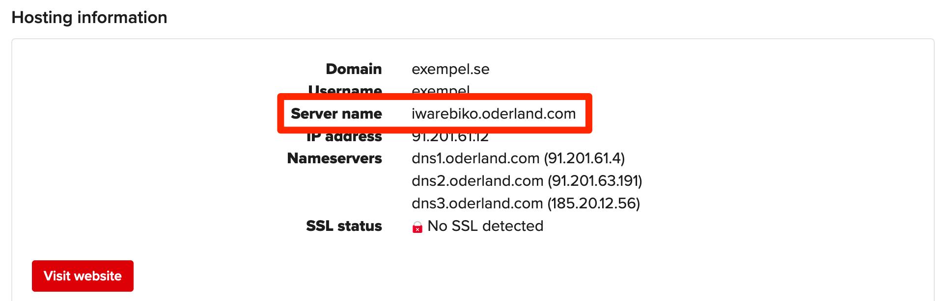 Service server name