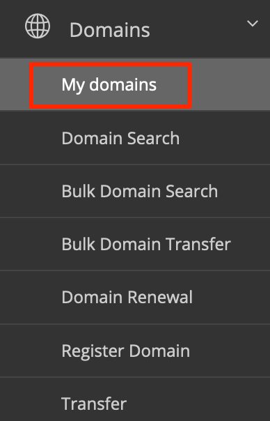 Select My domains