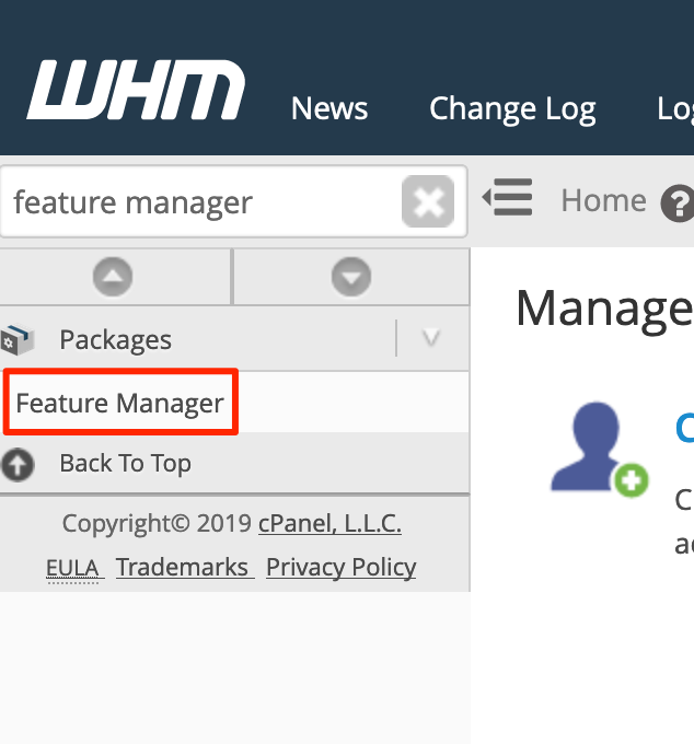 Välj Feature Manager