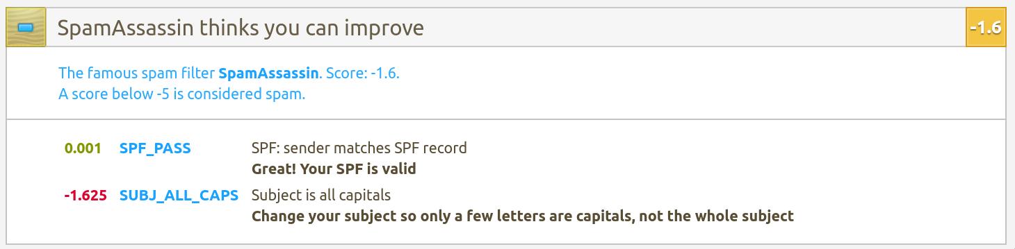 Mail-tester varnar för stora bokstäver