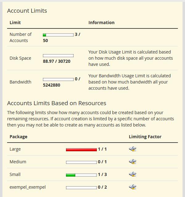Account limits