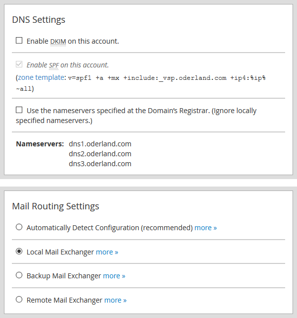 New account DNS and Mail Routing