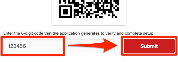 Skanna QR-koden, ange koden från appen och klicka på submit