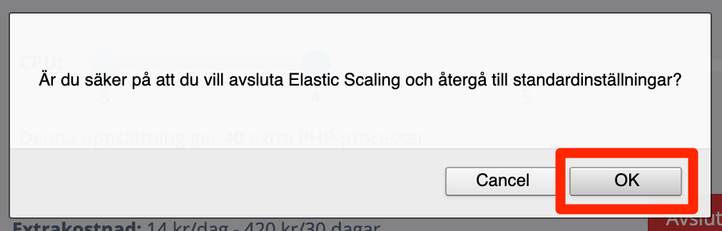 Bekräfta avslut av Elastic Scaling