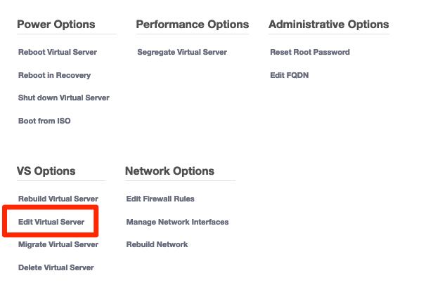 Tryck på Edit Virtual Server