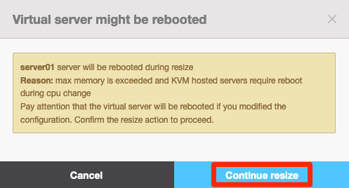 Klicka på Continue resize för att få tillgång till de uppdaterade resurserna