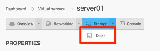 Välj Storage och sedan disks