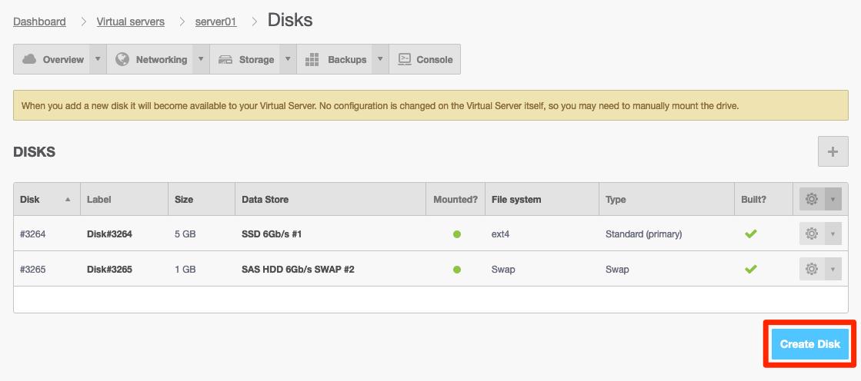 Lägg till ny disk via Create Disk