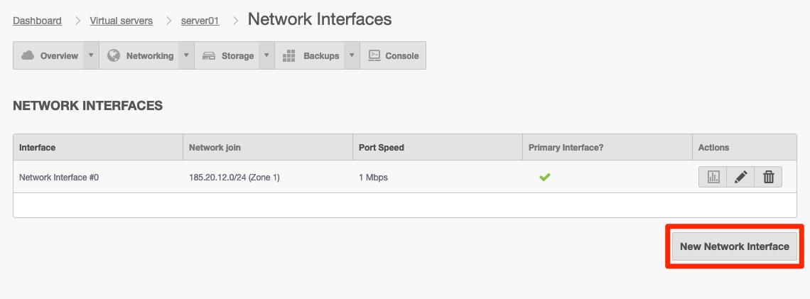 Tryck på New Network Interface