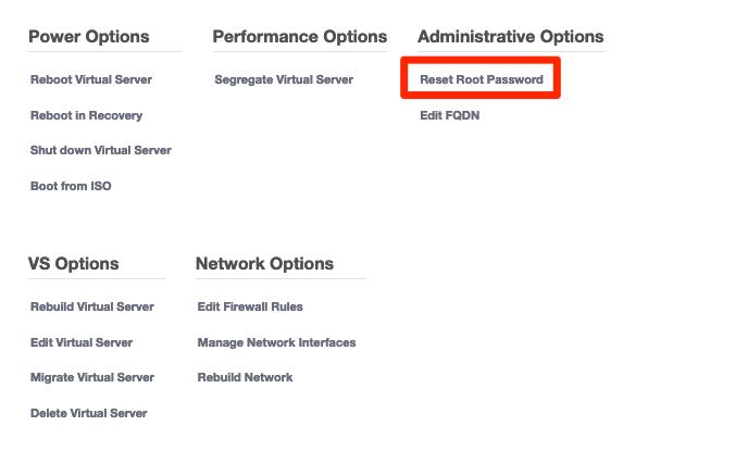 Klicka på Reset Root Password