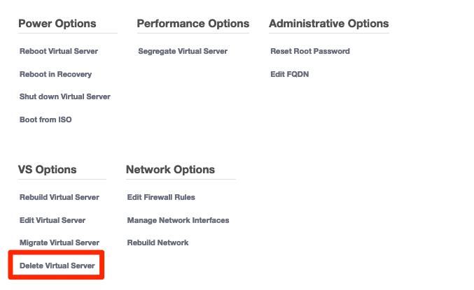 Välj Delete virtual server