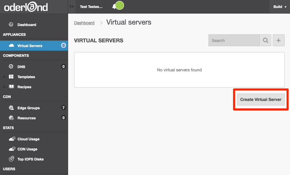 Klicka på Create Virtual Server