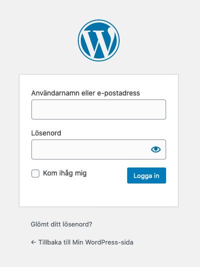 Loginsidan för WordPress