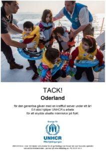 Oderland ger bidrag till UNHCR