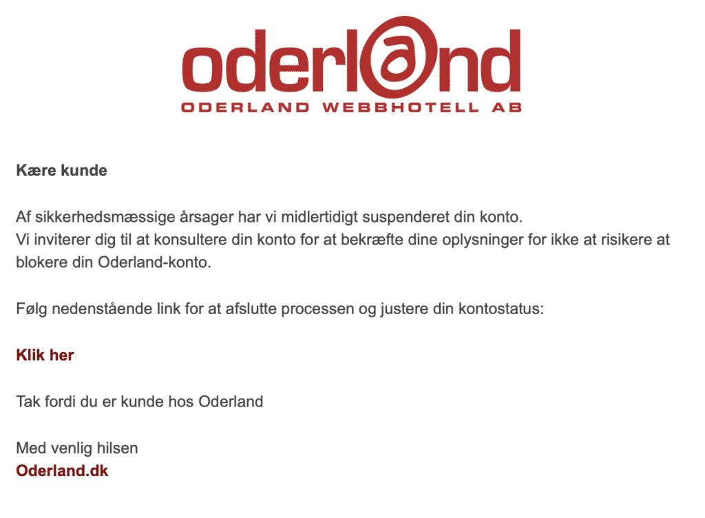 Nätfiske som utger sig för att vara Oderland, oktober 2020
